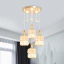 Modernist Faceted Crystal Cluster Pendant Light 3 Lights Ceiling Suspension Lamp in Gold