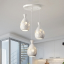Metal Etched Teardrop Hanging Ceiling Light Minimalist 3-Light White Cluster Pendant with Inserted Crystal