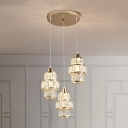 Crystal 3-Tier Round Hanging Light Kit Minimal 3 Lights Gold Cluster Pendant for Dining Room