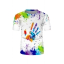 Unique Boys Colorful Splash Ink Hand Printed Short Sleeve Crew Neck Regular Fitted Tee Top