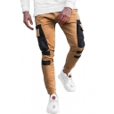 Trendy Mens Colorblock Flap Pocket Drawstring Cuffed Mid Rise Slim Fit Ankle Length Cargo Pants