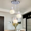 White Glass Dome Cluster Pendant Modernism 3 Bulbs Dining Room Crystal Drop Lamp