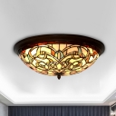 Scrollwork Stained Glass Ceiling Lighting Tiffany Black LED Flush Mounted Light for Living Room
