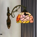 Petals Stained Art Glass Wall Sconce Tiffany 1 Bulb Bronze Wall Mounted Light Fixture