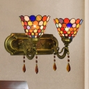 2 Heads Wall Mounted Light Tiffany Dots Bell Shaped Stained Art Glass Wall Sconce Lighting in Brass