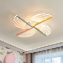 Kids Pinwheel Acrylic Flushmount LED Close to Ceiling Light in White for Bedroom