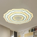Acrylic Blossom Flush Mount Lighting Modern LED White Flush Ceiling Lamp Fixture with Crystal Droplet