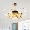 4 Blades Round Bedroom Ceiling Fan Light Crystal Block LED Modernist Semi Flush Mount in Gold, 42