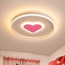 Loving Heart Ultrathin Ceiling Lighting Romantic Simple Iron Bedroom LED Flush Mount in Pink/Black-White