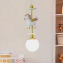 Small Globe Cream Glass Suspension Light Cartoon 1-Light White Ceiling Pendant with Flying Horse Decor