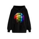 Colorful Dripping Lip Patterned Long Sleeve Drawstring Kangaroo Pocket Loose Fit Cool Hoodie for Women