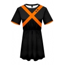 Unique Girls Cross Striped Short Sleeve Crew Neck Midi Pleated A-line T Shirt Dress in Black