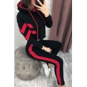 Chic Womens Chevron Printed Long Sleeve Drawstring Loose Crop Hoodie & Contrasted Ankle Fitted Pants Set