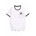 Street Womens Cartoon Pocket Printed Short Sleeve Crew Neck Relaxed Fit Ringer Tee Top in White