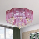 Flower Crystal Flushmount Light Contemporary Gold/Pink LED Flush Mounted Lamp with Sheer Shade