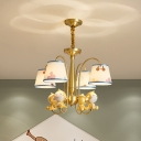 4 Lights Bedroom Chandelier Kid Brass Hanging Lamp with Cone Fabric Shade and Monkey Decor