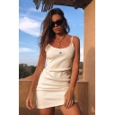 Classic Womens Letter M Embroidered Spaghetti Neck Sleeveless Slip Dress in White