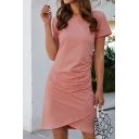 Popular Womens Solid Color Short Sleeve Round Neck Short A-line Tulip Dress