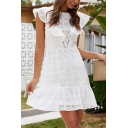 Gorgeous Ladies Hollow out Sleeveless Ruffled Trim Crew Neck Short A-line Dress in White