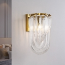 Arched Crystal Flute Wall Mount Light Mid Century 1 Head Bedroom Sconce Lighting in Gold