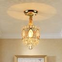 K9 Crystal Gold Ceiling Flush Mount Round 1-Light Transitional Semi Flush Lighting