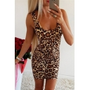 Hot Girls Leopard Printed Square Neck Short Fitted Tank Dress in Khaki