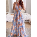 Gorgeous Ladies Allover Flower Printed Sleeveless Deep V-neck Open Back Strap Maxi Pleated A-line Dress in Blue