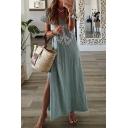 Fashion Womens Geo Printed Short Sleeve V-neck Slit Sides Maxi A-line T-shirt Dress
