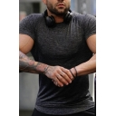 Training Guys Solid Color Short Sleeve Crew Neck Slim Fitted Tee Top
