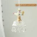 Scalloped Bowl Pendulum Light Kids Clear Glass 1/4-Light White Drop Pendant with Drape and Cartoon Kettle Top