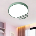 LED Bedroom Flush Light Fixture Nordic White/Green/Grey Flush Mounted Lamp with Bulb-Like Acrylic Shade