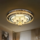 Cut Crystal Gold Flush Light Circle LED Modernism Flush Mount in Remote Control Stepless Dimming