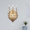 Brass/Silver 1-Bulb Wall Light Modernism Clear Crystal Branch Wall Sconce Lighting Fixture