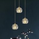 K9 Crystal Gold Drop Lamp Dome 3 Heads Simple Cluster Pendant Light with Round/Linear Canopy