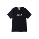 Simple Boys Colorful Letter Golf Print Short Sleeve Crew Neck Relaxed T Shirt