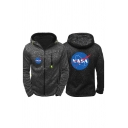 Letter Nasa Print Long Sleeve Zipper Detail Drawstring Sherpa Lined Relaxed Fit Athletic Hoodie for Guys