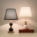 Tapered Fabric Nightstand Light Nordic 1 Head Black/White Table Lighting with Wood Ball Base