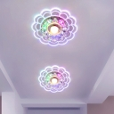 White LED Flush Mount Lamp Modernist Beveled K9 Crystal Floral Ceiling Light in Warm/Multi Color Light