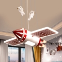 Red/Blue Finish Airship Pendant Cartoon LED Metallic Chandelier Light Fixture for Kids Room