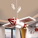 Red/Blue Finish Airship Pendant Cartoon LED Metallic Chandelier Light Fixture for Kids Room