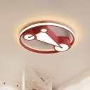 Nordic LED Flush Mount Lamp Black/Pink/Blue Triangle Ceiling Light Fixture with Acrylic Shade for Nursery