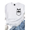 Womens Casual Pocket Cat Printed Roll-up Sleeve Crew Neck Regular Fitted T Shirt