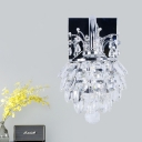 Pinecone Faceted Crystal Sconce Simplicity LED Bedroom Wall Lighting Fixture in Chrome