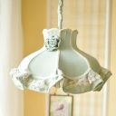 Green Scalloped Hanging Light Fixture Kids 1 Light Fabric Suspension Lighting for Bedroom