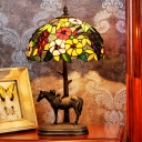 1-Bulb Domed Nightstand Lamp Mediterranean Coffee Stained Glass Night Lighting with Horse and Kid Deco