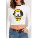 Fashionable Cartoon Printed Long Sleeve Contrasted Round Neck Slim Fitted Cropped White T-shirt for Girls