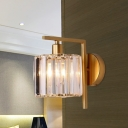 Gold Right-Angle Arm Sconce Lamp Minimalist Crystal Single Bedside Wall Mount Lamp with Cup Shade