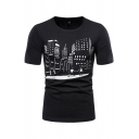 Black Cartoon Printed Short Sleeve Round Neck Slim Fitted Stylish T-shirt for Men