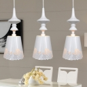 Korean Garden Cone Cluster Pendant 3 Lights Metal Ceiling Light in White with Cutout Flower Design