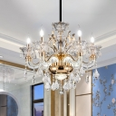 Victorian Style Candle Chandelier 6 Lights Crystal Suspension Pendant Light in Gold